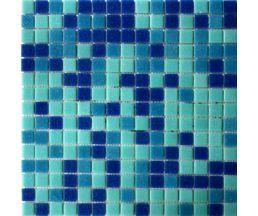 MC107 мозаика стеклянная 327*327*4 микс голубого