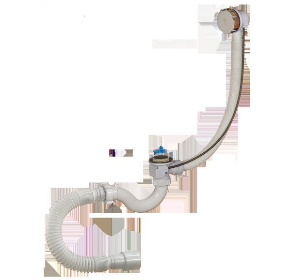 Сифон для ванны с перел.и гиб.трубой (полуавтомат) А24089
