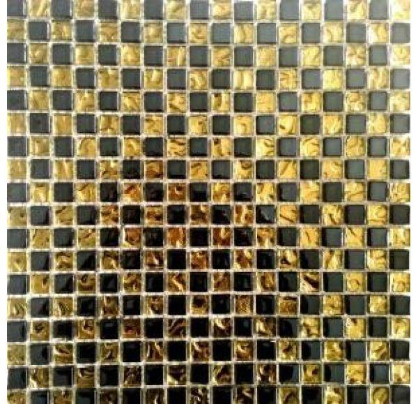 A5241 мозаика стеклянная 300*300*6 черное золото