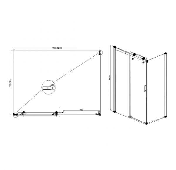 Душевые ограждения Open 900*1200*1900 (стекло подв. + стекло неподв.)