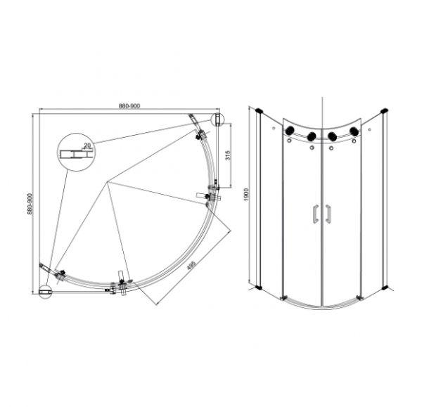 Душевые ограждения Radius 900*900*1900  ( стекло 2 подв. + 2 неподв.)