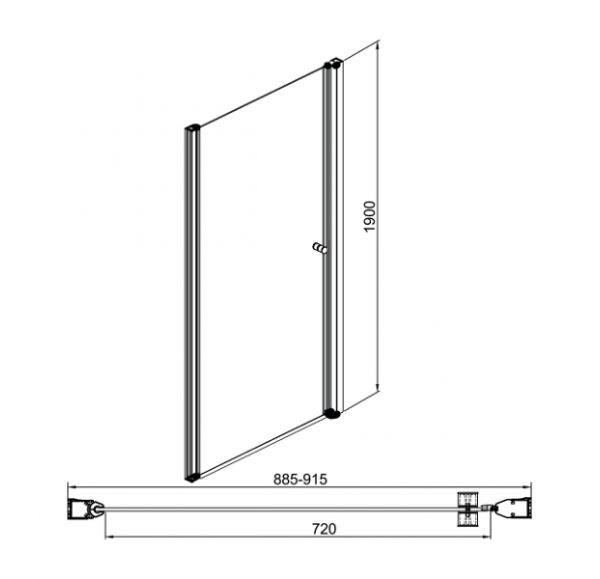 Душевые ограждения Enter 900*1900 (душ дверь)
