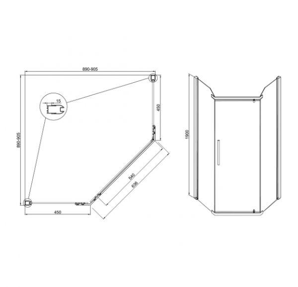 Душевые ограждения Quadro 900*900*1900 ( стекло 1 подв. + 2 неподв.)