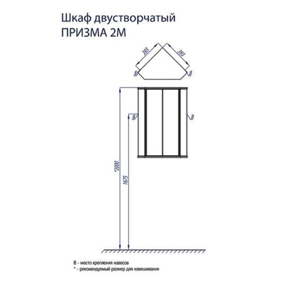 Призма шкаф 2-ух. ств. угловой 1A007003PZ010