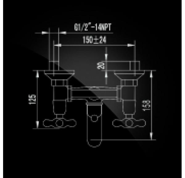 Retro Bronze Смеситель для ванны двухвентильный с д/к 2700754-1-Bronze