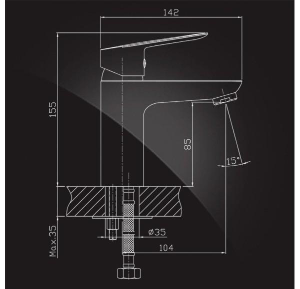 Brunn Смеситель для раковины однорычажный с г/п 1680306