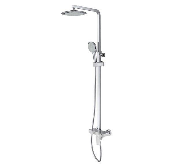 Berlin Душевая стойка без излива (однорычаж. смес., тропич. душ, ручной душ) белый/хром DA1433716A02
