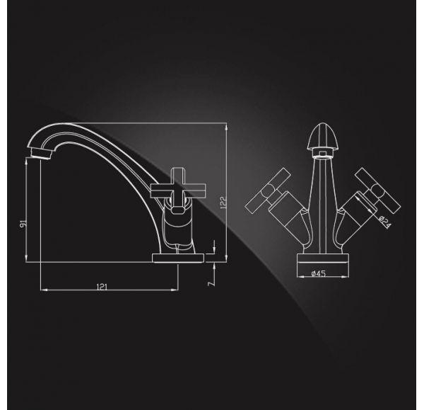 Ecofly Смеситель для раковины двухвентильный с г/п 1902880