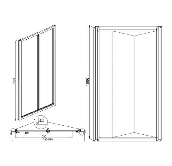 Душевые ограждения Vega 80 (дверь сдвижная)