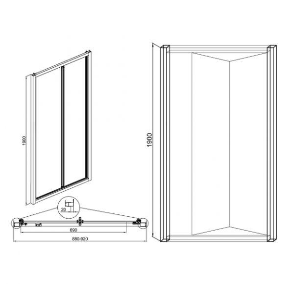 Душевые ограждения Vega 90 (дверь сдвижная)