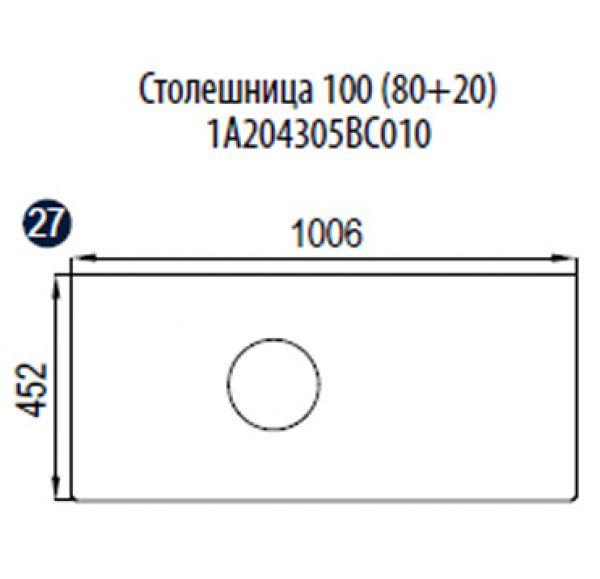 Столешница 100 (80+20) 1A204305BC010 + раковина KHROMA 40*40