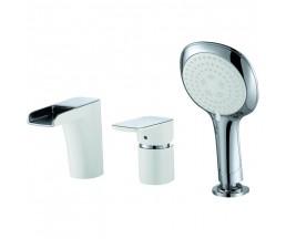 Врезной смеситель для ванны каскадный излив хром/белый DA1434216