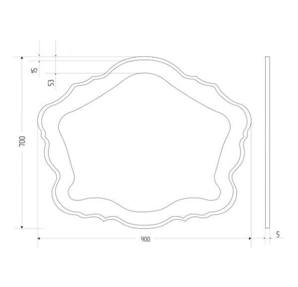 Bianco зеркало 900*700 фигурное