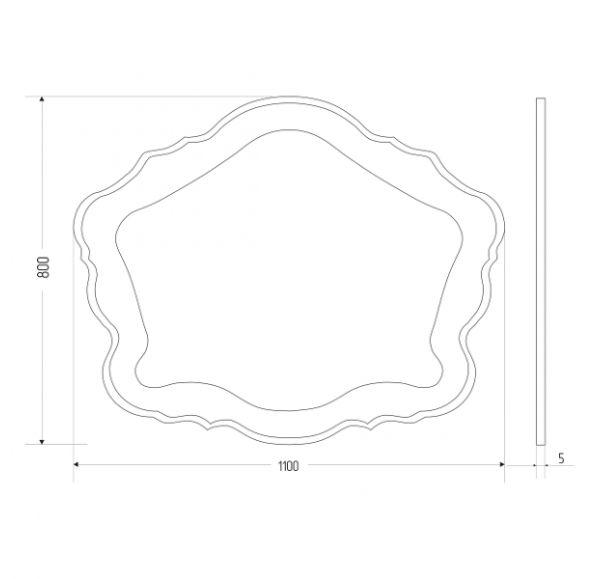 Bianco зеркало1100*800 фигурное
