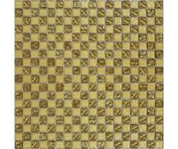 мозаика стеклянная 443 шахматка мелаллик золото-золото 300*300 мм