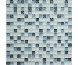 мозаика стеклянная 579 микс белый матовый-серый светлый рифленный, темный серый рифленный 300*300 мм