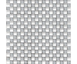 мозаика стеклянная 2032 шахматка мелаллик серебро-платина 300*300 мм
