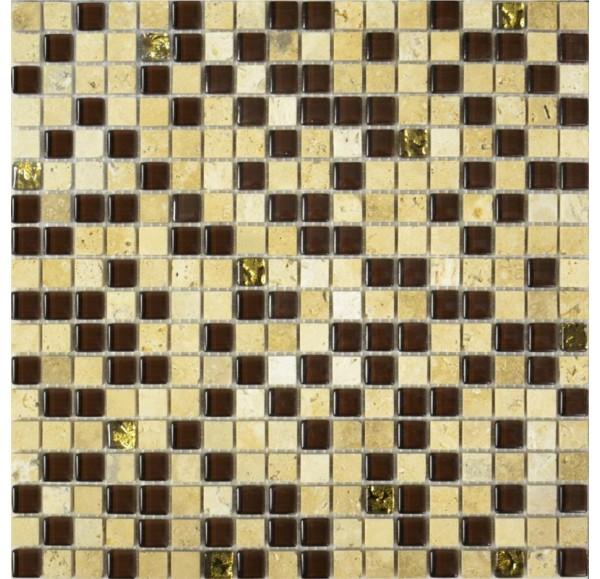 2029 микс травертин-коричневый-золото 300*300