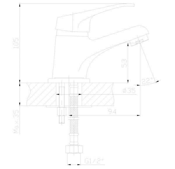 DR37011 Смеситель одноручный  для умывальника монолитный, хром