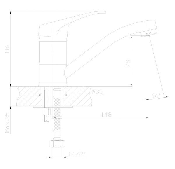 DR37012 Смеситель одноручный  для умывальника с поворотным изливом, хром