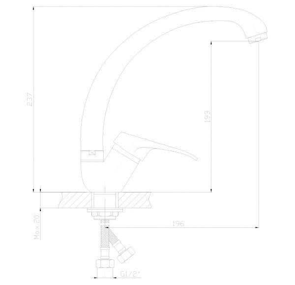 DR37021 Смеситель одноручный  для кухни с высоким повортным изливом, хром