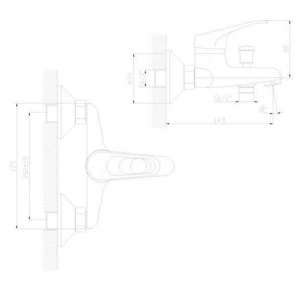 DR37035 Смеситель одноручный  для ванны с коротким изливом, хром