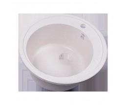 RS47R-White Мойка кухонная круглая из исскуственного камня, d47мм, с сифоном, белый