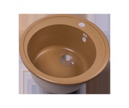 RS51R-Beige Мойка кухонная круглая из исскуственного камня, d510мм, с сифоном, бежевый