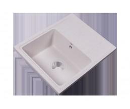 RS56-46SW-White Мойка кухонная квадратная с крылом реверсивная из исскуственного камня, 550х452мм, с