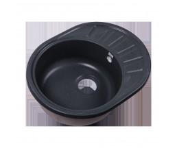 RS58-45RW-Gray Мойка кухонная округлая с крылом реверсивная из исскуственного камня, 570х440мм, с си