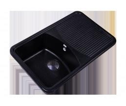 RS76-47SW-Black Мойка кухонная квадратная с крылом реверсивная из исскуственного камня, 742х460мм, с