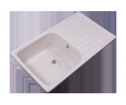 RS81-46SW-White Мойка кухонная квадратная с крылом реверсивная из исскуственного камня, 780х433мм, с