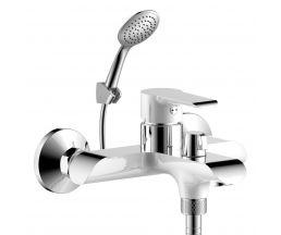 W35-31 Смеситель одноручный (35 мм) для ванны с коротким изливом, дивертор с кер. пласт., хром/бел