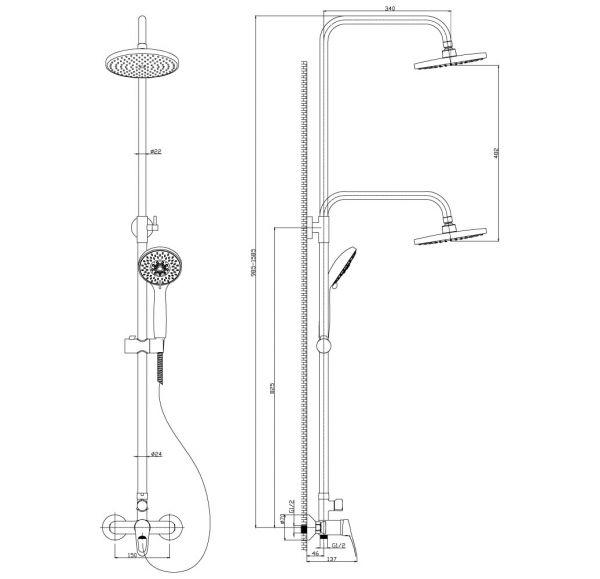 B35-45 Смеситель одноручный (35мм) для душа с верхней лейкой
