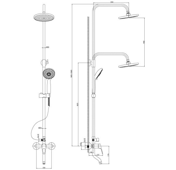B35-46 Смеситель одноручный (35мм) для ванны с верхней лейкой