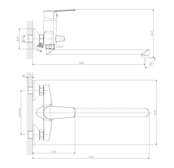 S35-33 Смеситель одноручный (35 мм)  для ванны с плоским изливом 350 мм, хром