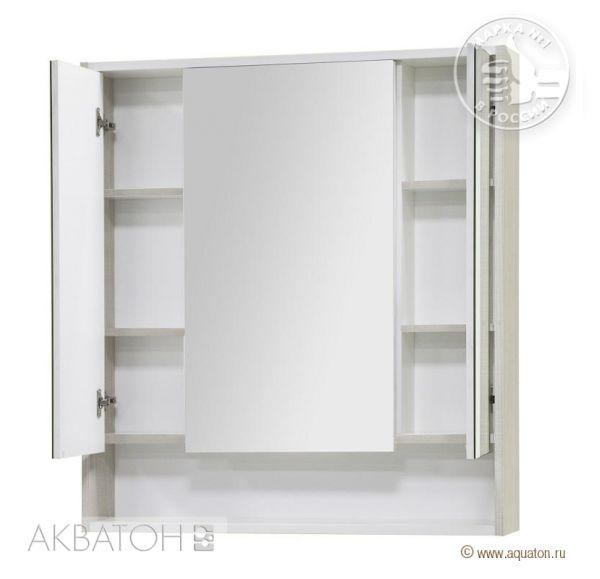 Рико 80 зеркальный шкаф Белый/ясень фабрик 1A215302RIB90