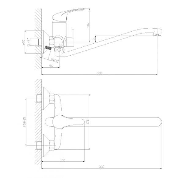 A35-34 Смеситель одноручный (35мм) универсальный с S-образным поворотным изливом, див. с керам. плас