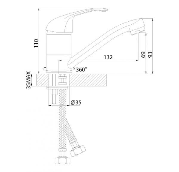 A35-22U Смеситель одноручный (35мм) для умывальника поворотным изливом 150мм, крепл.универс., хром
