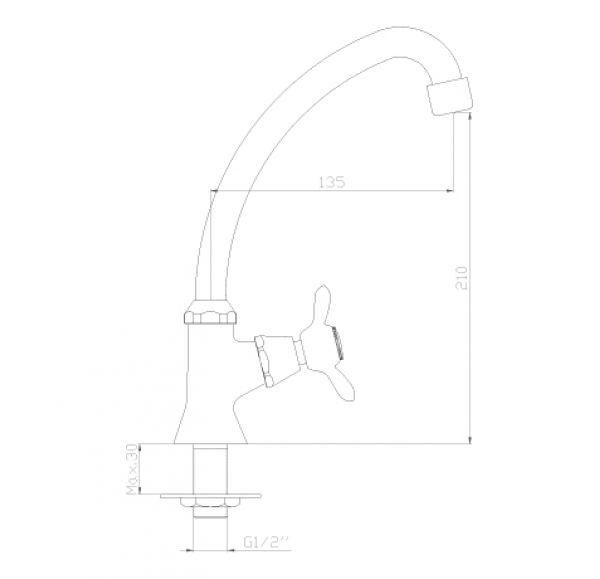 Q02-60U Кран для холодный воды, хром