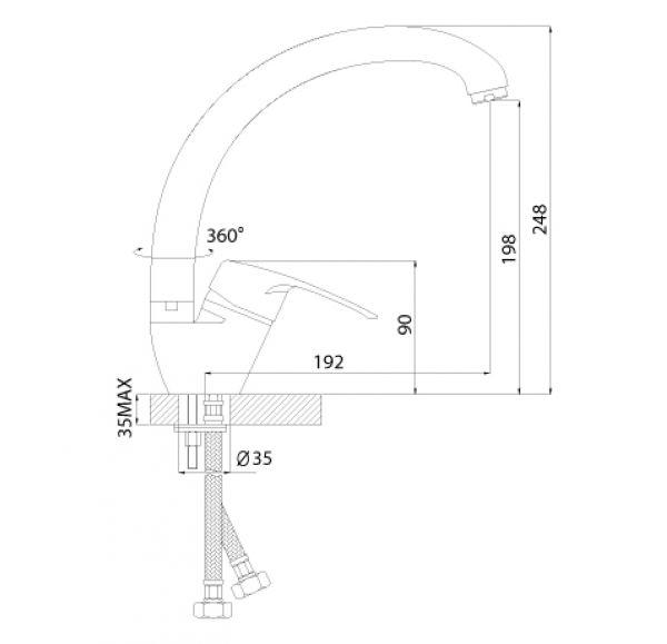 F40-23 Смеситель одноручный (40мм) для кухни, с высоким поворотным изливом 220мм, хром