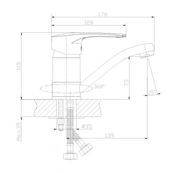 T40-22 Смеситель одноручный (40 мм) для умывальника с поворотным изливом 160 мм,хром