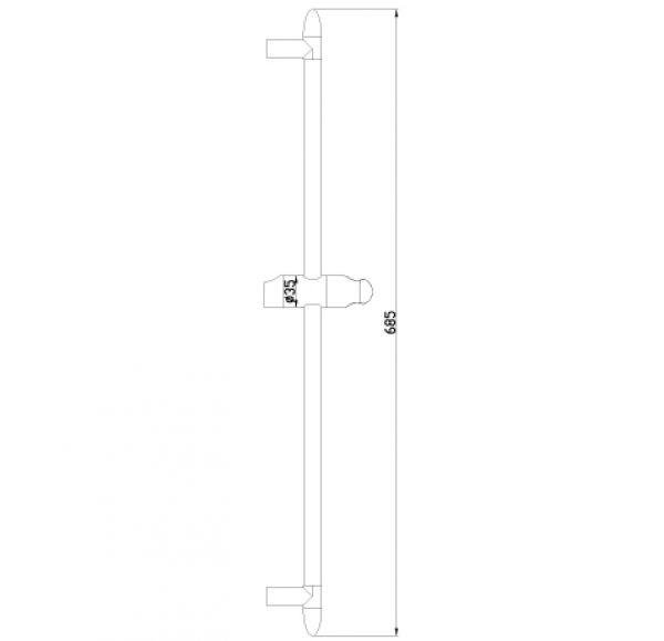 LM8063C Аксессуары Стойка душевая 685мм, хром, блистер