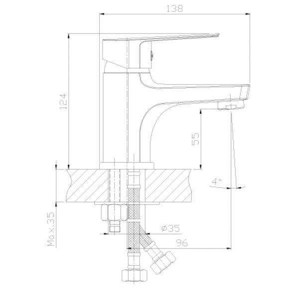 S35-15 Смеситель одноручный (35 мм) монолитный для умывальника и биде, хром