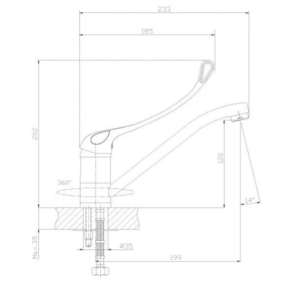 Y35-25 Смеситель одноручный (35 мм) для кухни с поворотным изливом 250 мм, c локтевой рукояткой, хро