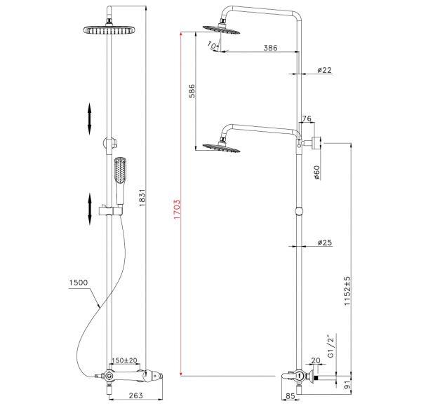 LM5462BG SWAN Смеситель для ванны с верхней душ.лейкой