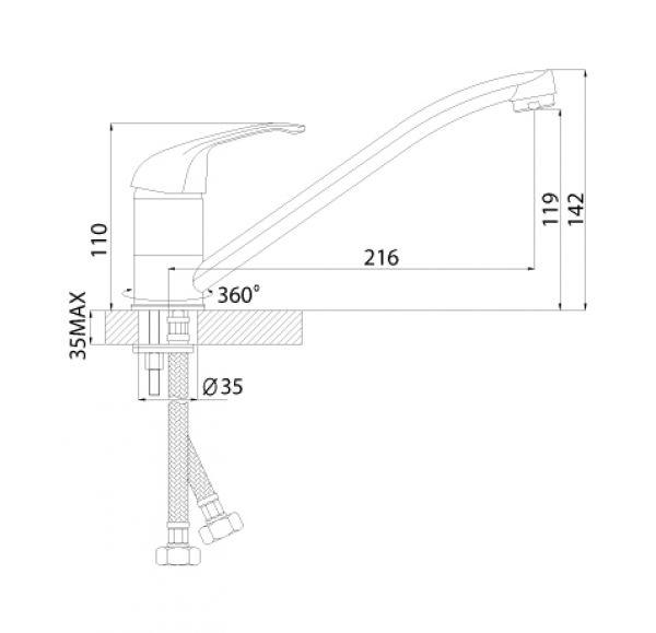 A35-21U Смеситель одноручный (35мм) для умывальника поворотным изливом 250мм, крепл.универс., хром