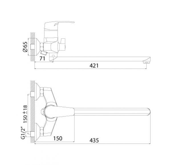 F40-32 Смеситель одноручный (40мм) для ванны, с плоским изливом 350 мм, дивертор с кер пластин, хром