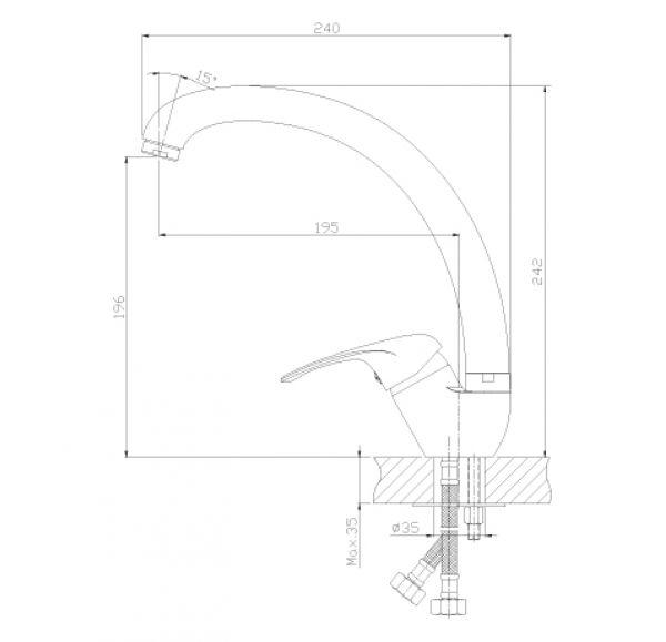A35-25 Смеситель одноручный (35мм) для кухни с высоким изливом, хром