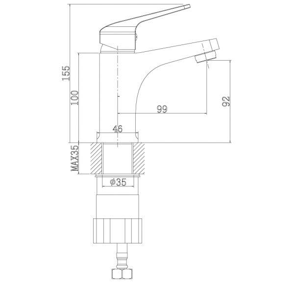 RS37-11U Смеситель одноручный (35мм) для умывальника монолитный, хром
